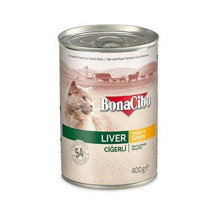 BONACIBO Canned Cat Food Liver 400g available at allaboutpets.pk