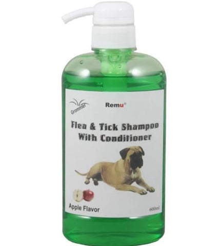 Image of Remu Dog Groomer Shampoo apple Conditioner 600ml, Smooth & Shiny Coat, Flea & Tick Control available at allaboutpets.pk in pakistan.