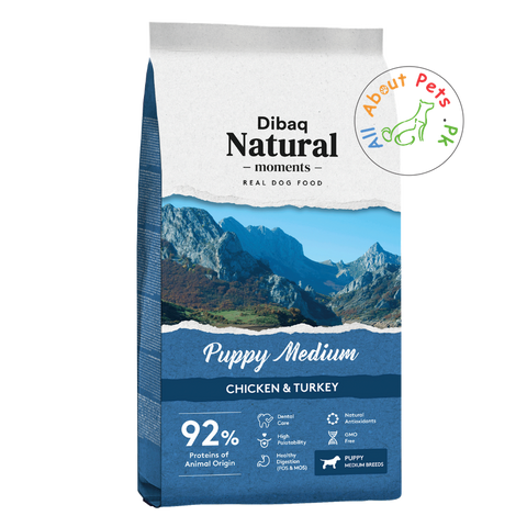 DIBAQ natural moments puppy medium dog food available at allaboutpets.pk in Pakistan