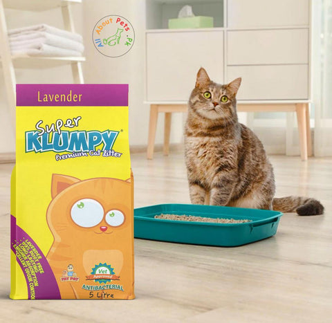 introducing Lavender Scented Super Klumpy Cat Litter in 5kg packing  available at allaboutpets.pk in pakistan