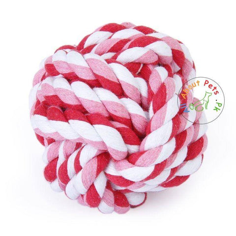 Image of Vitakraft Geknotet Ball pink color, dog chew toy available at allaboutpets.pk in pakistan.