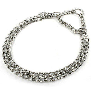 Chrome Plated Choke Show Training Link Double 17 inches, dog choke chain , stainless steel choke chain available at allaboutpets.pk in pakistan.