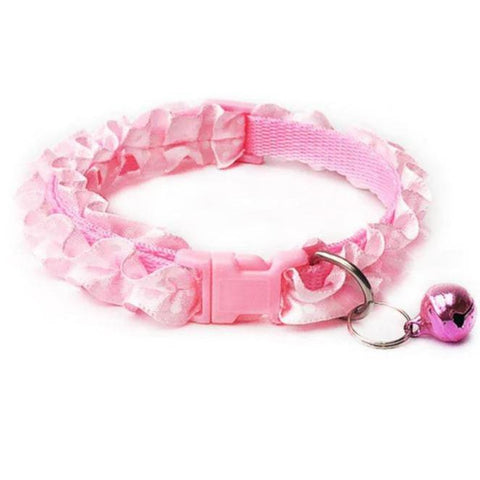 lace collar polka dots with bell for cat & dogs Pink color available in pakistan at allaboutpets.pk