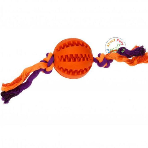Image of orange Rubber Treat Ball, training ball with Rope for dogs available at allaboutpets.pk in Pakistan