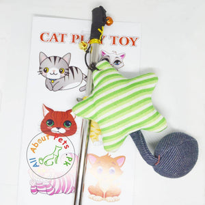 Cat Teaser Toys green and white shooting star available in Pakistan at allaboutpets.pk