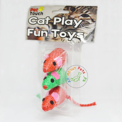 Cat Toy Rope Mouse set of 3, red and green color available in Pakistan at allaboutpets.pk