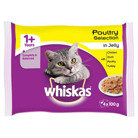 Image of Whiskas poultry Selection In Jelly 4x100g available online at allaboutpets.pk