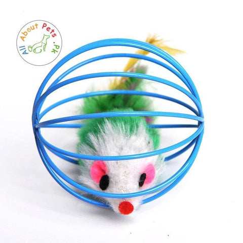 Cat Toy Wire Ball Cage Fur Mouse available at allaboutpets.pk in Pakistan