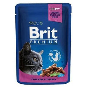 Brit Premium Cat Pouches with Chicken & Turkey 100g, cat wet food, cat jelly food available at allaboutpets.pk in pakistan.