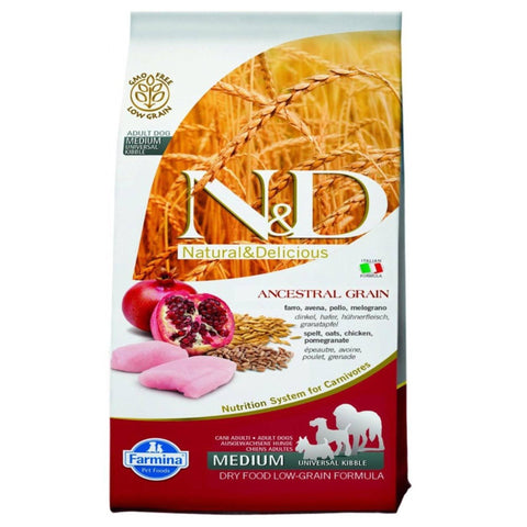 Farmina N&D Low Grain Chicken & Pomegranate Adult dog food 12 KG available at allaboutpets.pk in pakistan.