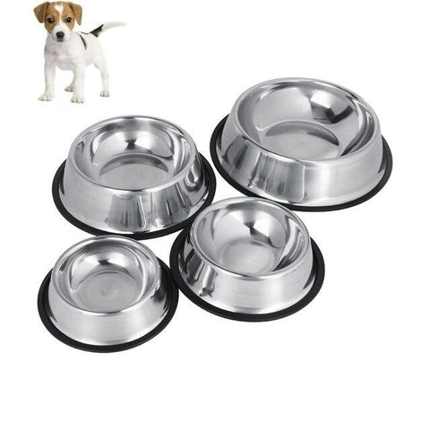 Image of pet feeding Stainless Steel bowls for Dogs & Cats, anti slip rust free dog feeding bowl available at allaboutpets.pk in pakistan.