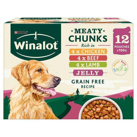 Purina Winalot Meaty Chunks In Jelly Dog Food 100g chicken, beef and lamb flavors available at allaboutpets.pk in Pakistan