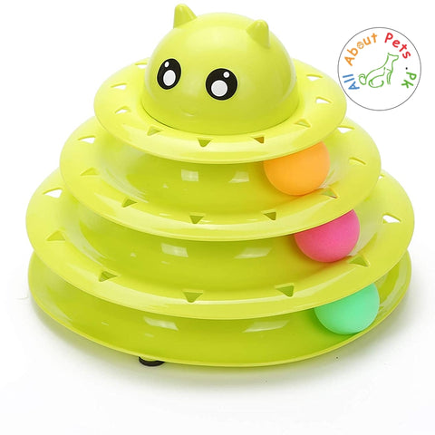 Image of Cat Toy Roller 3 Level Towers Interactive Tracks Roller green color  available at allaboutpets.pk in Pakistan