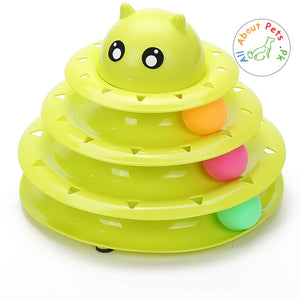 Cat Toy Roller 3 Level Towers Interactive Tracks Roller green color  available at allaboutpets.pk in Pakistan