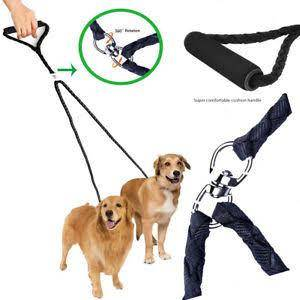 Double Dog Nylon Leash black color, Dual Leash Coupler For Walking Training Two Dogs available at allaboutpets.pk in pakistan