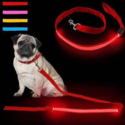 Double Trouble Led Leash Red with led & reflective strip, Glow LED Flashing Light Leash Red Color available at allaboutpets.pk in pakistan