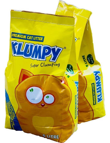 Image of Klumpy Cat Litter, 5L, 16L, cat clay clumping litter, cat EXCELLENT ODOR CONTROL litter available at allaboutpets.pk in pakistan.