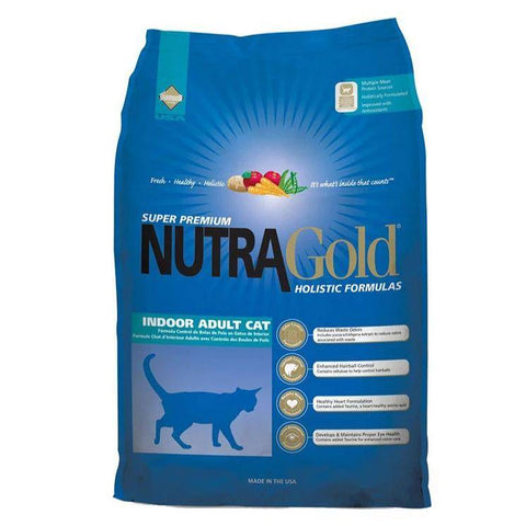 Image of NutraGold Holistic Indoor Adult Cat Dry Food 1kg, 3kg, available at allaboutpets.pk in pakistan.