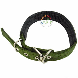 Dog Collar Soft Nylon Padded Adjustable Collars army green color available in Pakistan at allaboutpets.pk