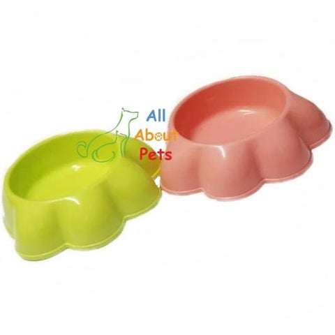 Paw Shaped Feeding Bowl for cats & dogs green & pink color available at allaboutpets.pk in pakistan.