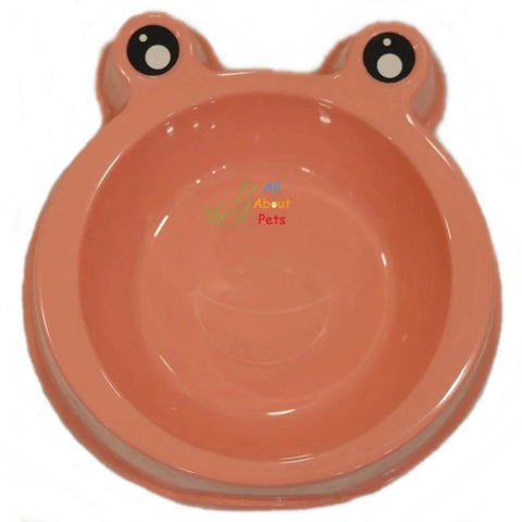 Image of Pet dog and cat Feeding Bowl Frog Faced peach color available online at allaboutpets.pk in pakistan.