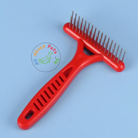 Pet Rake Comb 2 Rows Stainless Steel Teeth Anti-Static Red color available at allaboutpets.pk in Pakistan