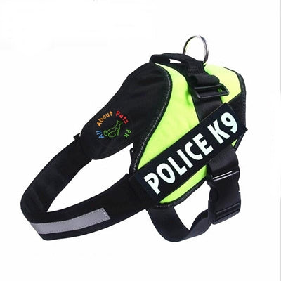 Image of Green Police K9 Harness with efficient reflective strip orange color available at allaboutpets.pk in pakistan.
