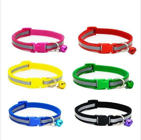 Adjustable reflective pet dog collars with bells pet puppy cat night safety light reflecting collar cute pet necklace available at allaboutpets.pk in pakistan