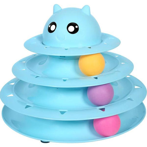 Cat Toy Roller Cat Toys 3 Level Towers Tracks Roller blue color with Three Colorful Ball Interactive Kitten Fun Mental Physical Exercise Puzzle Toys available at allaboutpets.pk in pakistan