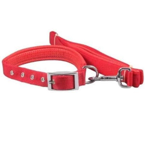 "Smart Way red Collar With Leash for dogs, Dog Leash With Padded Collar   25mm 48"" X 20""  High Quality Durable Material available at allaboutpets.pk in pakistan."