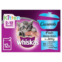 Whiskas Kitten 12 Pack Casserole Fish Selection Jelly 85g, with salmon, tuna, coley and white fish flavors available at allaboutpets.pk
