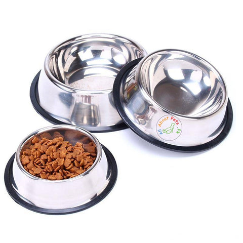 Image of Feeding Bowl Stainless Steel for Dogs & Cats, anti slip rust free dog feeding bowl available at allaboutpets.pk in pakistan.