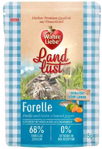 Wahre Liebe Wet Food Pouches 85g trout flavor available at allaboutpets.pk in pakistan.
