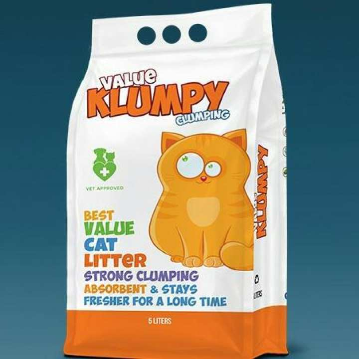 Klumpy Value Cat Litter 5 KG, highly absorbent and it's naturally antibacterial available at allaboutpets.pk in pakistan.