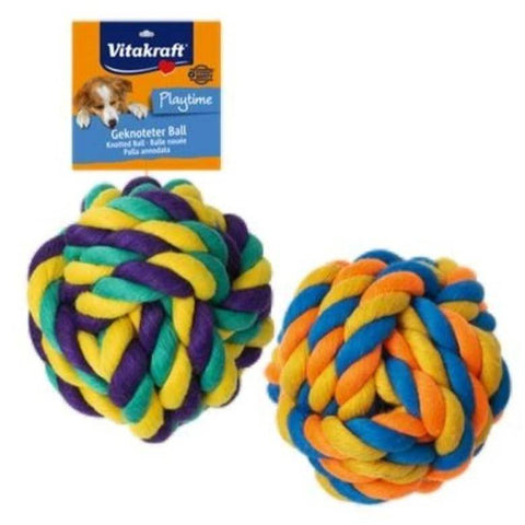 Image of Vitakraft Geknotet Ball, dog chew toy available at allaboutpets.pk in pakistan.