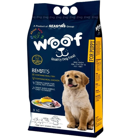Woof Puppy Food – Be Happy Pets 3Kg From the house of Seasons & Menu Foods Pakistan, menu dog food available at allaboutpets.pk in pakistan.