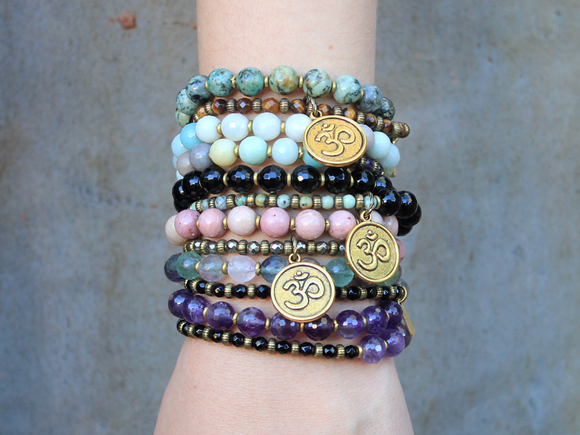 27 bead wrap mala bracelets™ with fine faceted gemstones
