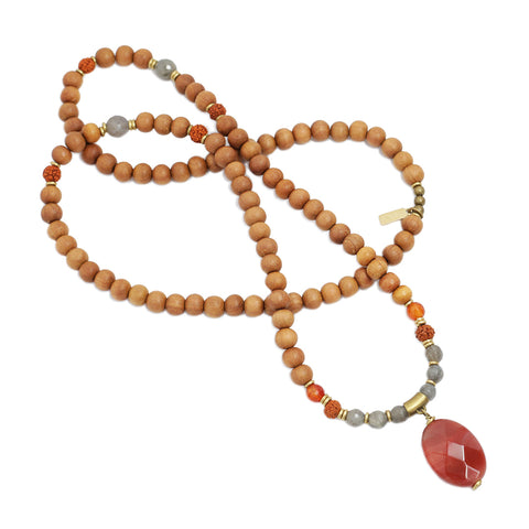 carnelian and sandalwood mala necklace