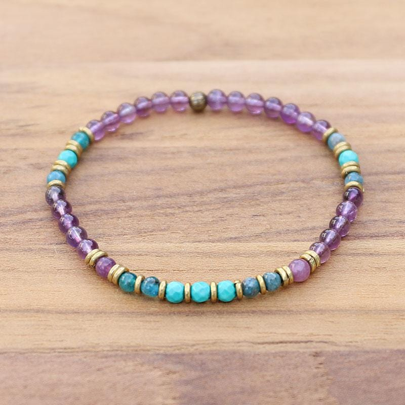 Amethyst and Apatite Delicate Bracelet