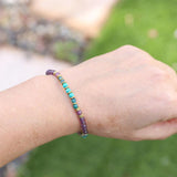 Genuine Amethyst and Apatite Delicate Bracelet for wrist