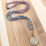 """Gratitude and Healing"" Amethyst and Apatite Mala Necklace with Tibetan Calendar Pendant"