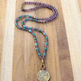 Amethyst and Apatite Mala Necklace with Tibetan Calendar Pendant