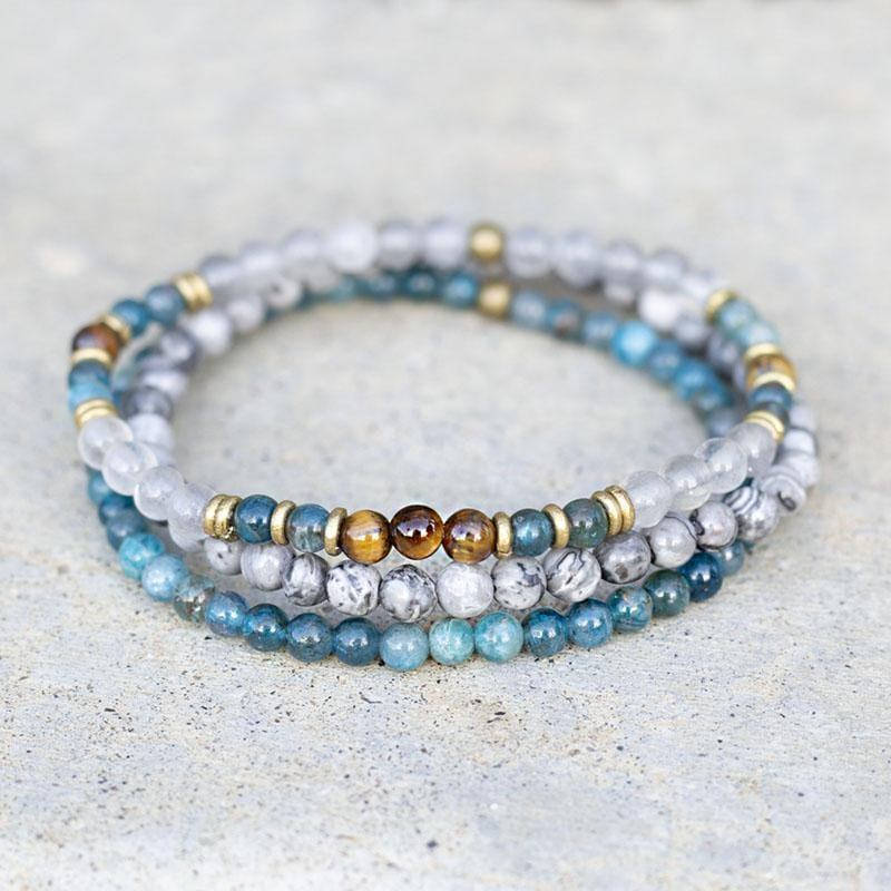 Apatite, Tigers Eye and Jasper Delicate Bracelet Set