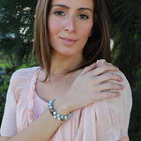 model wearing aquamarine mala bracelet