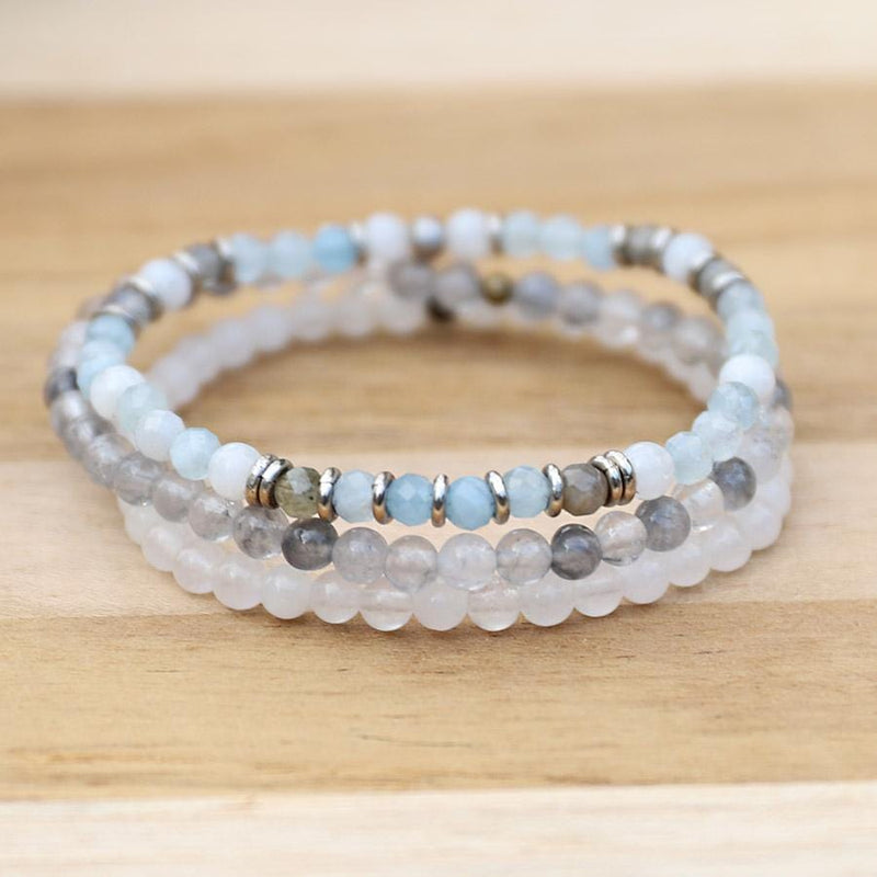 Aquamarine and Quartz Delicate Bracelet Stack