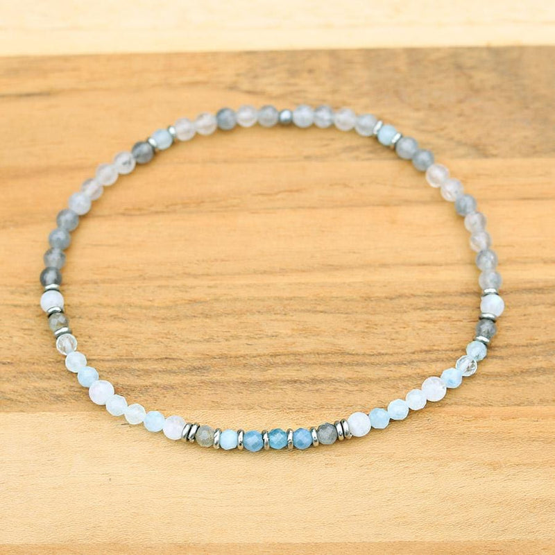 Aquamarine and Moonstone Delicate Anklet