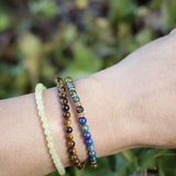 """Intuition and Prosperity"" Azurite Tiger's Eye and Jade Delicate Bracelet Stack"