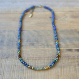 """Intuition"" Azurite and Moss Agate Delicate Gemstone Necklace"