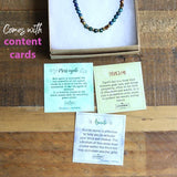 Azurite and Moss Agate Delicate Necklace with Content Cards