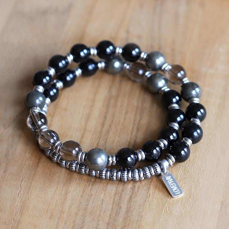 Black Tourmaline and Smoky Quartz Mala Bracelet